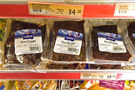 Whale meat for sale in supermarket in Tysfjord, Norway (Hvalkjot