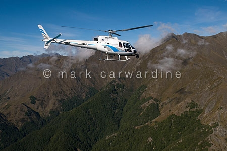 Helicopter in Fiordland National Park, South Island, New Zealand