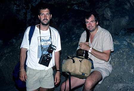 Mark with Douglas Adams in Robinson Crusoe's cave on the Juan Fernandez Islands, >during the first Last Chance to See