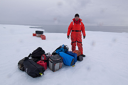 Mark Carwardine dumped on the ice for a bowhead whale shoot…