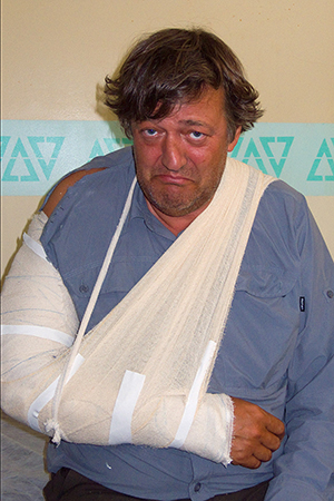 Stephen Fry with a broken arm during the making of Last Chance to See