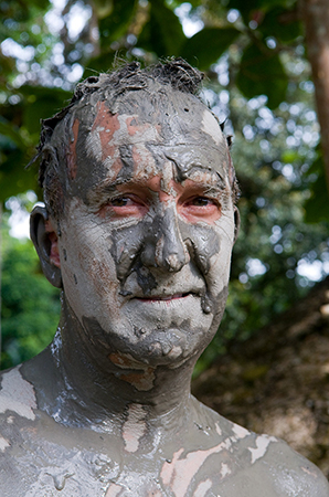 Mark gets muddy during the making of Last Chance to See